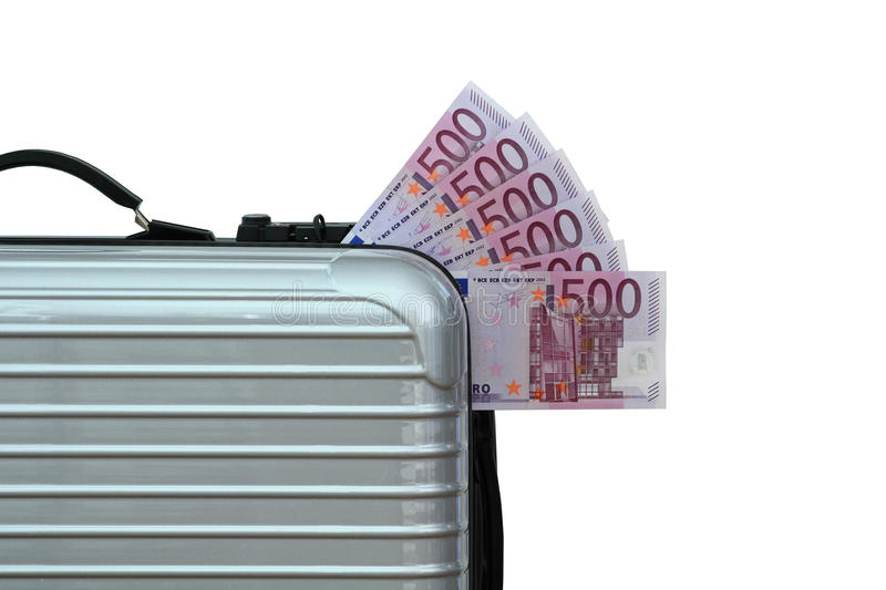 Money Suitcase. Suitcase filled with 500 Euro notes royalty free stock photo