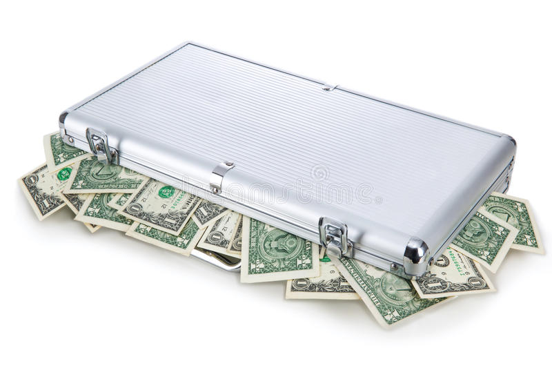 Money in a suitcase royalty free stock photos