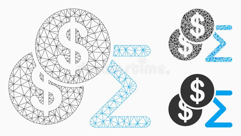 Money Summary Vector Mesh 2D Model and Triangle Mosaic Icon royalty free illustration