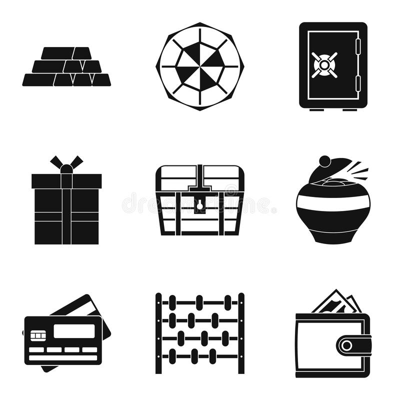 Money supply icons set, simple style stock illustration
