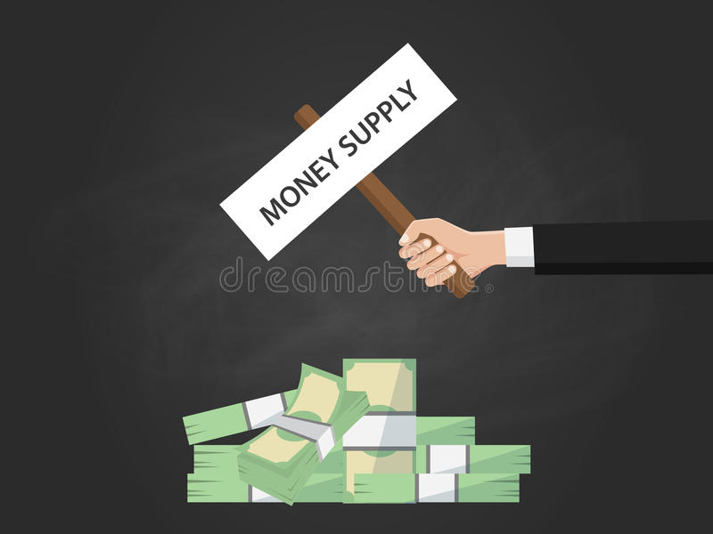 Money supply text on sign board on top of money illustration vector illustration