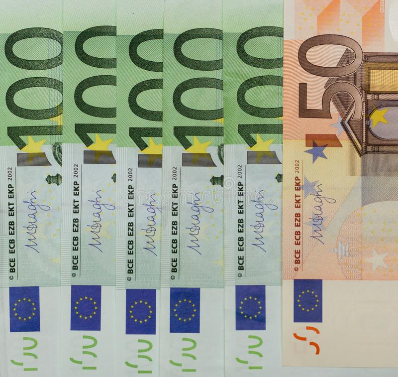 European Union currency protection and recognition signs in close up view. Money is a symbol of material wealth. European Union currency protection and royalty free stock photography