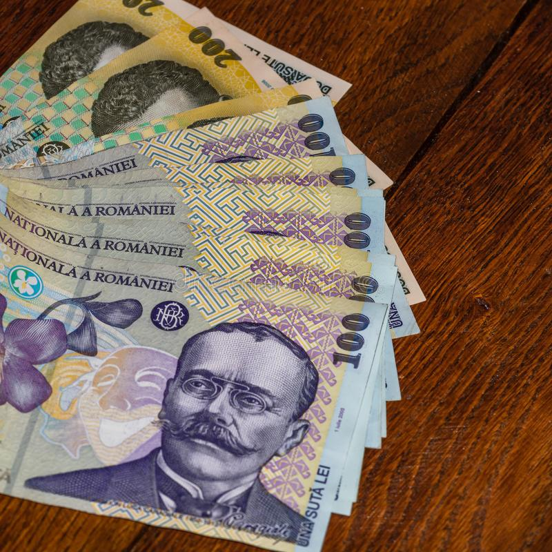 Money on the table, LEI on table close up. Business concept. Romanian currency stock photography