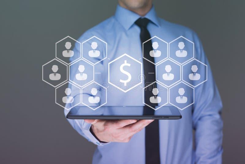 Money on tablet businessman , Business idea concept stock image
