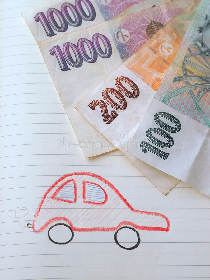 Money talks. There is always something to dream of and to save money for. Simple illustration of a car and czech banknotes stock photography