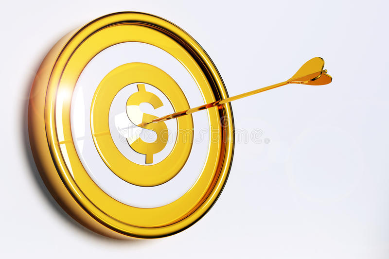 Money Target. Darts hitting the dollar shape of a gold target