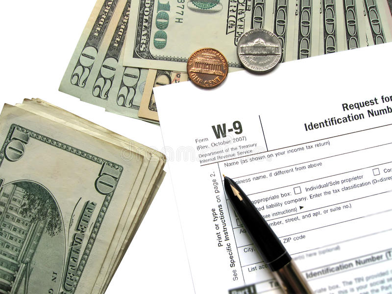 money tax for w9 revenue tax form, savings wealth royalty free stock image