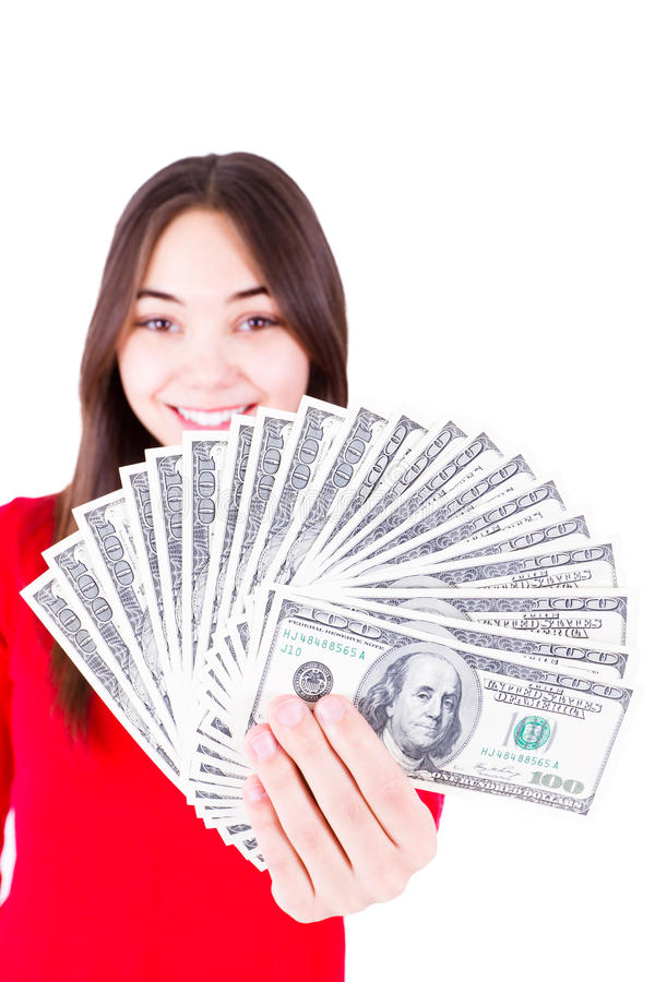 Money In Teenager Hands Royalty Free Stock Photo