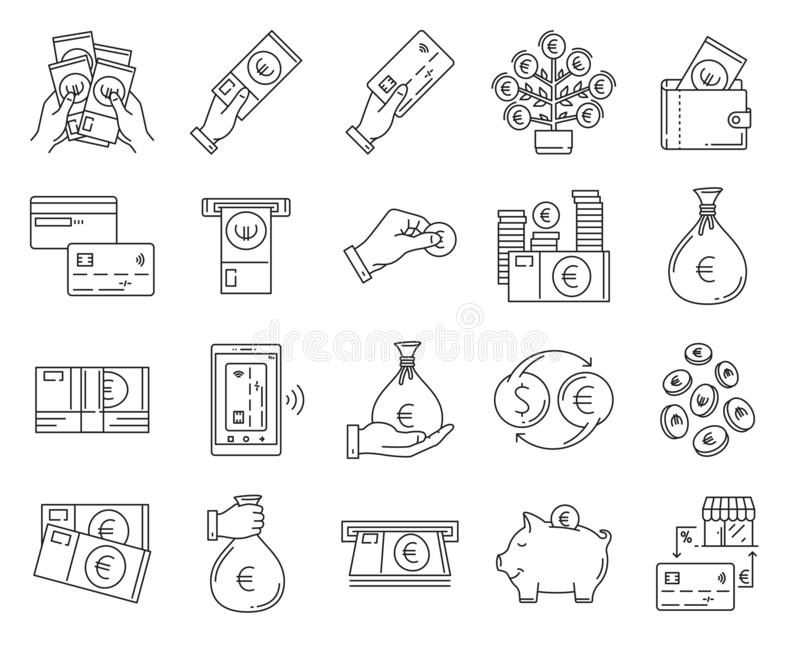 Money thin line icons . Euro, Money Tree, ATM, Cash Back, Transfer, Falling, Stack of money in hands . royalty free illustration