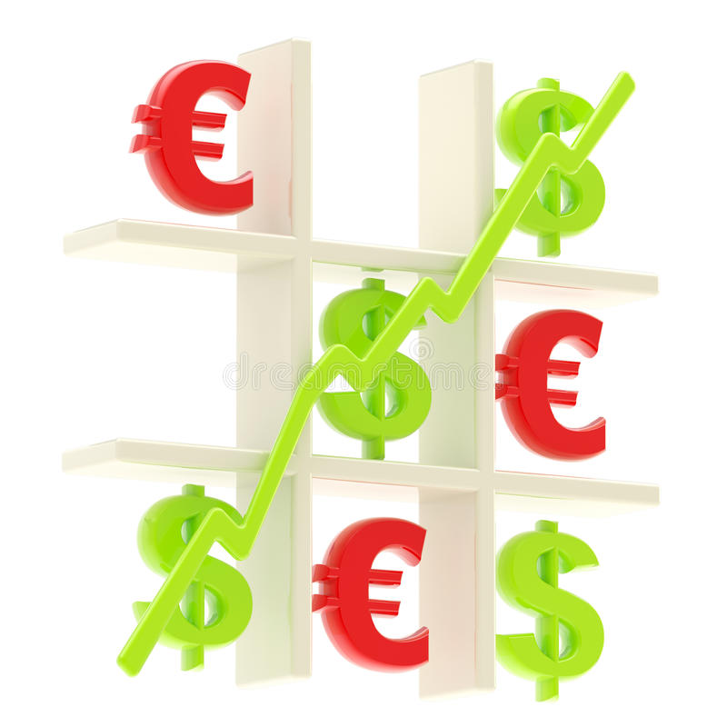 Download Money: Tic Tac Toe Made Of Dollar And Euro Signs Stock Illustration - Image: 23263322