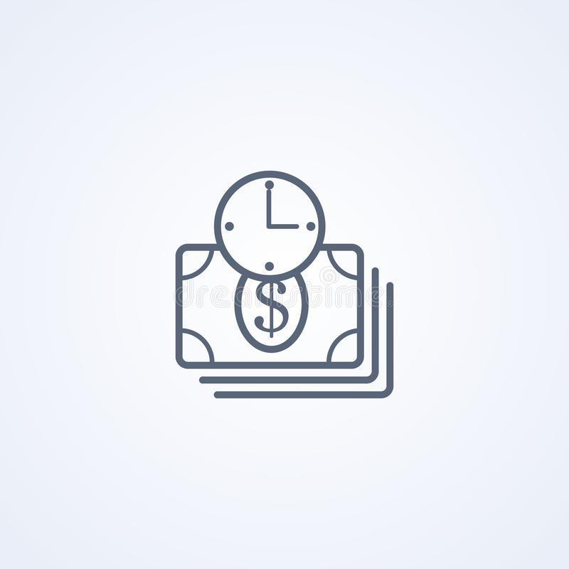 Money time, earn time, vector best gray line icon. On white background , EPS 10 stock illustration