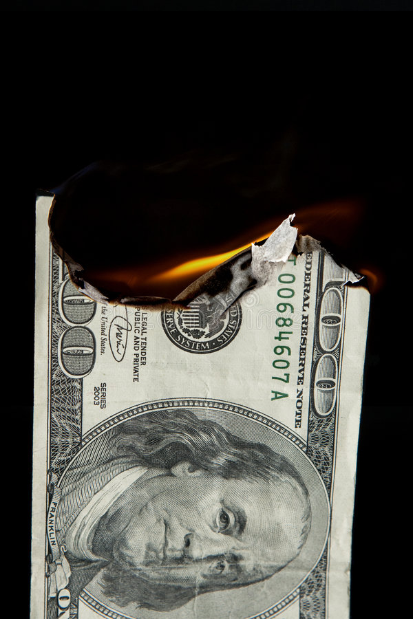 Download Money To Burn With $100 Bill Stock Image - Image: 8433677