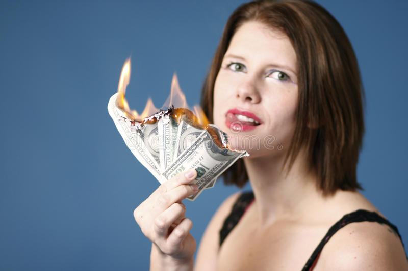 Download Money to burn stock image. Image of spend, hundred, caucasian - 17719201