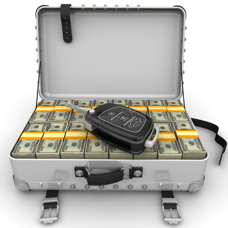 Money to buy a car. Car key is lying on open suitcase filled with packs of US dollars. . 3D Illustration stock illustration