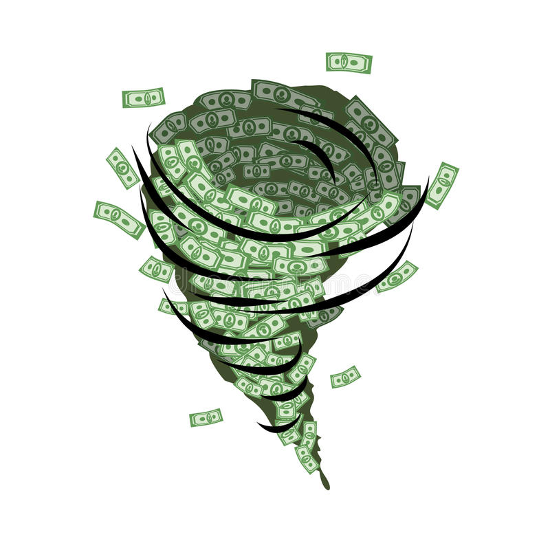 Money tornado. Whirlwind of dollars. Hurricane cash. stock illustration
