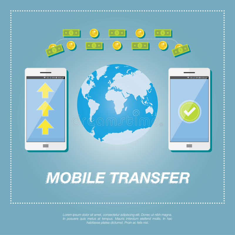 Money transfer concept. Sending gold coins and banknote from smart phone on smart phone on the background of the world map. Illustration in flat style stock illustration