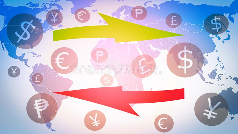 Money transfer exchange market forex global currency with currencies symbols financial. On world map background royalty free illustration