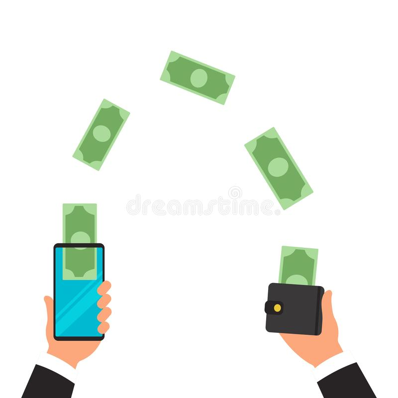 Free Money Transfer From Wallet Into Cellphone In Isometric Vector Design. Digital Payment Or Online Cashback Service. Mobile Royalty Free Stock Images - 139244879
