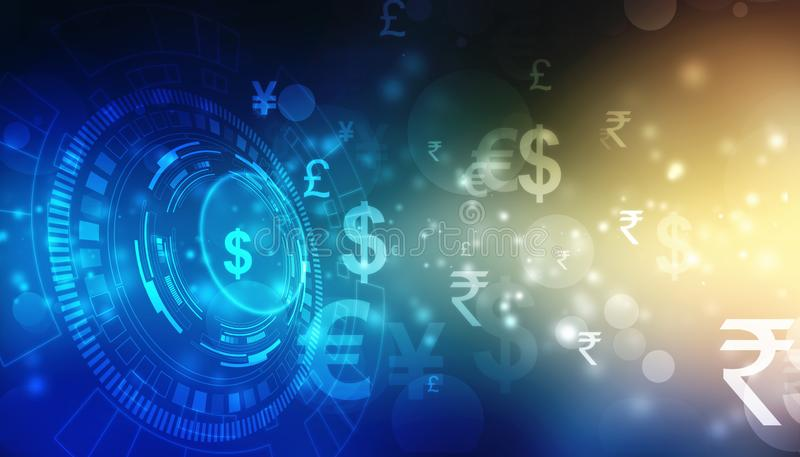 Global Currency on technology background, Money transfer, Stock market concept. Money transfer. Global Currency. Stock Exchange, Financial Background,Stock stock images