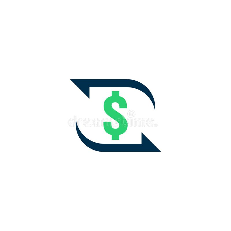 money transfer Icon. Chargeback contour sign. quick fund cash back symbol. Currency exchange refinance. Return on investment. Refu royalty free illustration