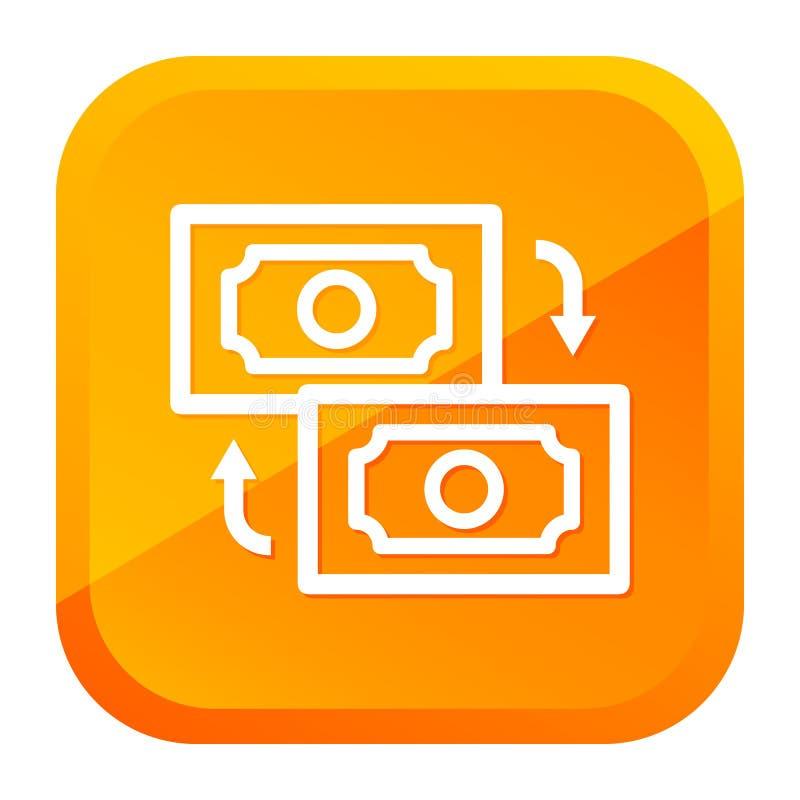 Money Transfer Icon. Yellow Button. Eps10 Vector stock illustration