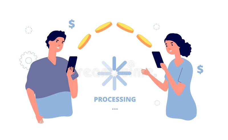 Money transfer. Mobile payment transaction service. People transfer money from phone to phone. Isolated man send coins. Woman vector illustration. Processing royalty free illustration