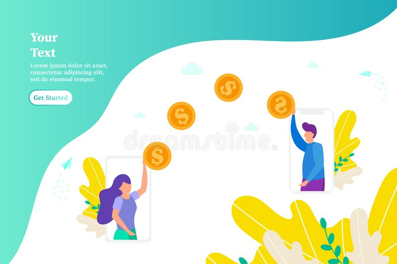 Money transfer between two smartphones, concept of online payments using phone, Girl gives money, pays for work, concept of donati stock photography