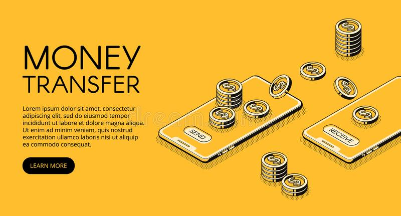Money transfer mobile phone vector illustration. Money transfer vector illustration of online banking in mobile phone application. Isometric black thin line stock illustration