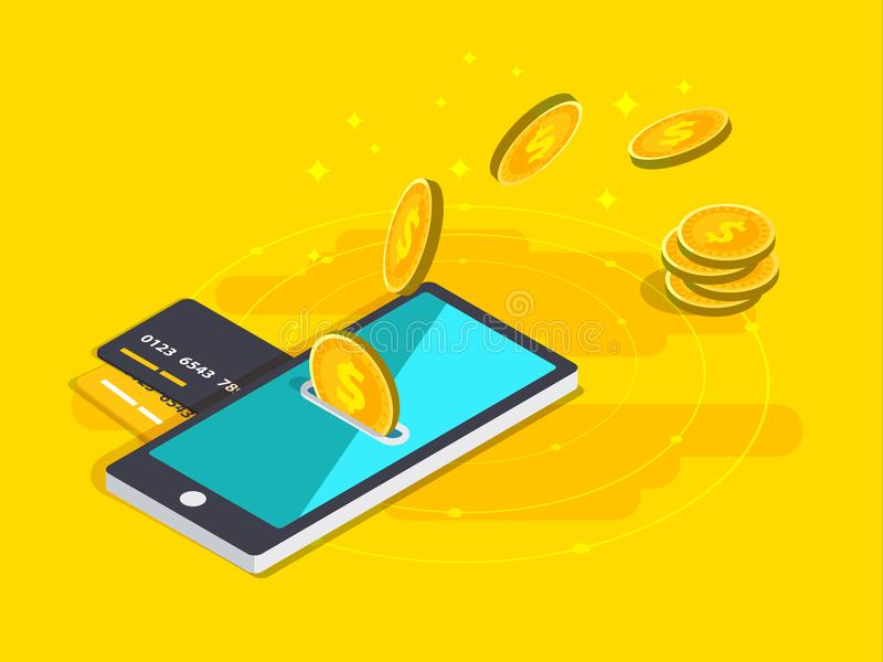 Money transfer via cellphone in isometric vector design. Digital. Payment or online cashback service. Mobile banking transaction cocnept. Withdraw money with royalty free illustration
