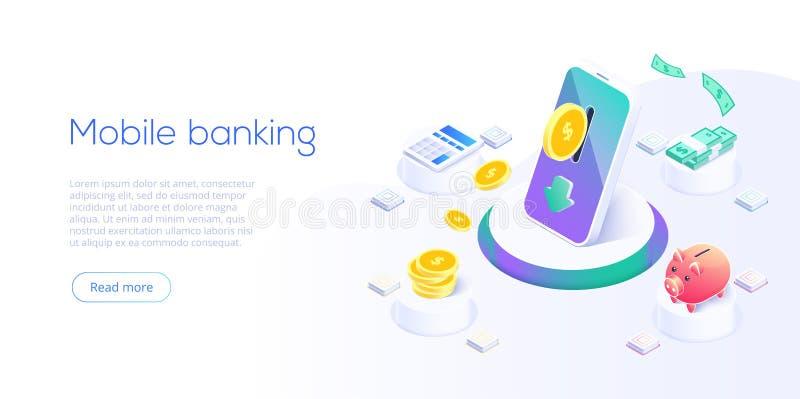 Money transfer via cellphone in isometric vector design. Digital payment or online cashback service. Mobile banking transaction vector illustration