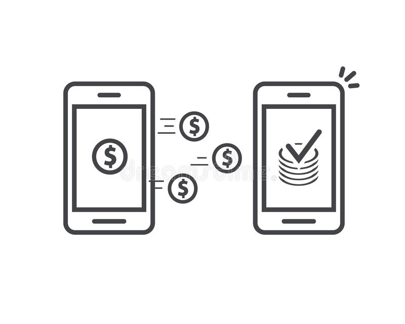 Money transfer via mobile phones vector icon, line outline art smartphones with cash wallets coins transferring money stock illustration
