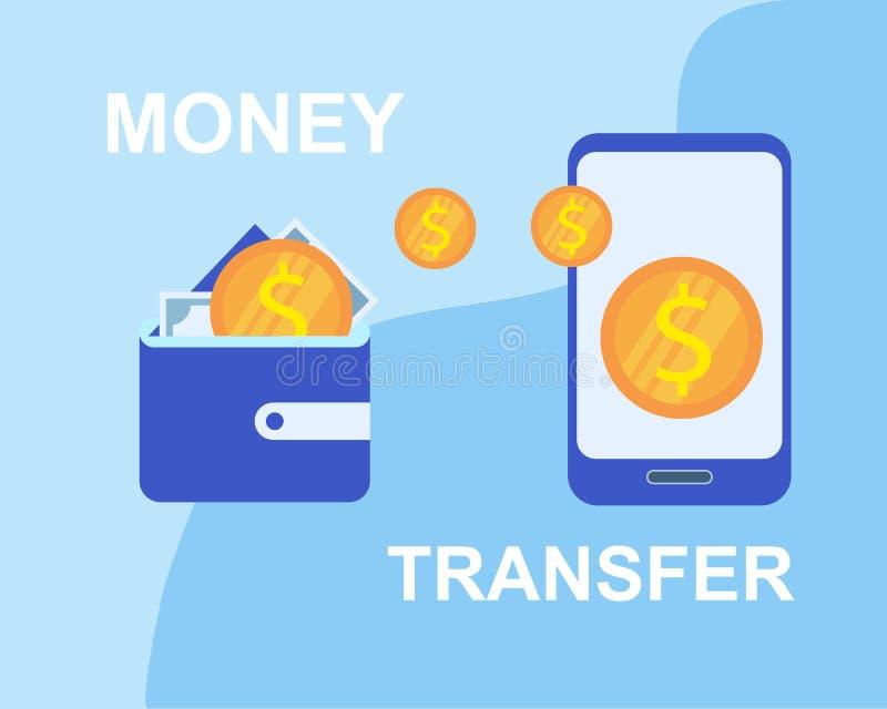 Money Transfer Wallet to Smartphone Application stock illustration