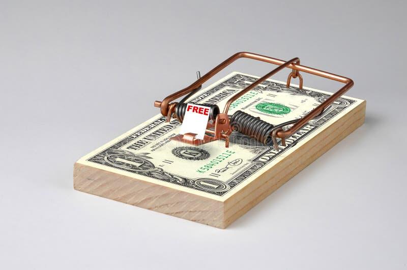 Money Trap. Photo of Free Money Mouse Trap royalty free stock photo