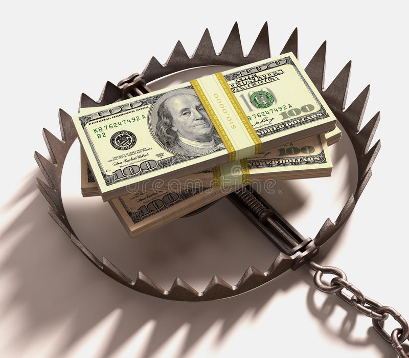 Money Trap. Stack of US dollars into a trap. Clipping path included royalty free stock images