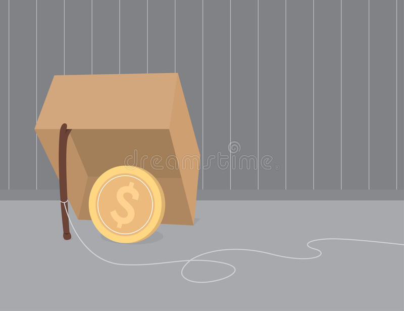 Money trap using coin as bait. Money trap using dollar currency stock illustration