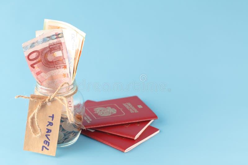 Travel jar - vacation savings stock photo