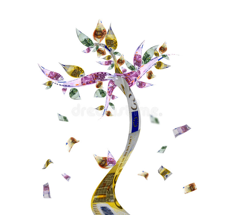 Money tree. With euro bank notes stock images