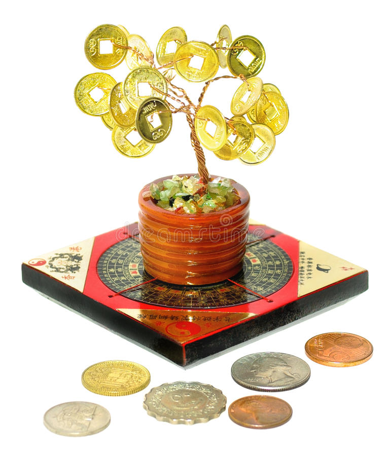 Money Tree. Chinese Money Tree - Symbol of wealth growth. Symbols of wealth and prosperity of Feng Shui - Money Tree, Feng Shui compass and coins of different royalty free stock photography