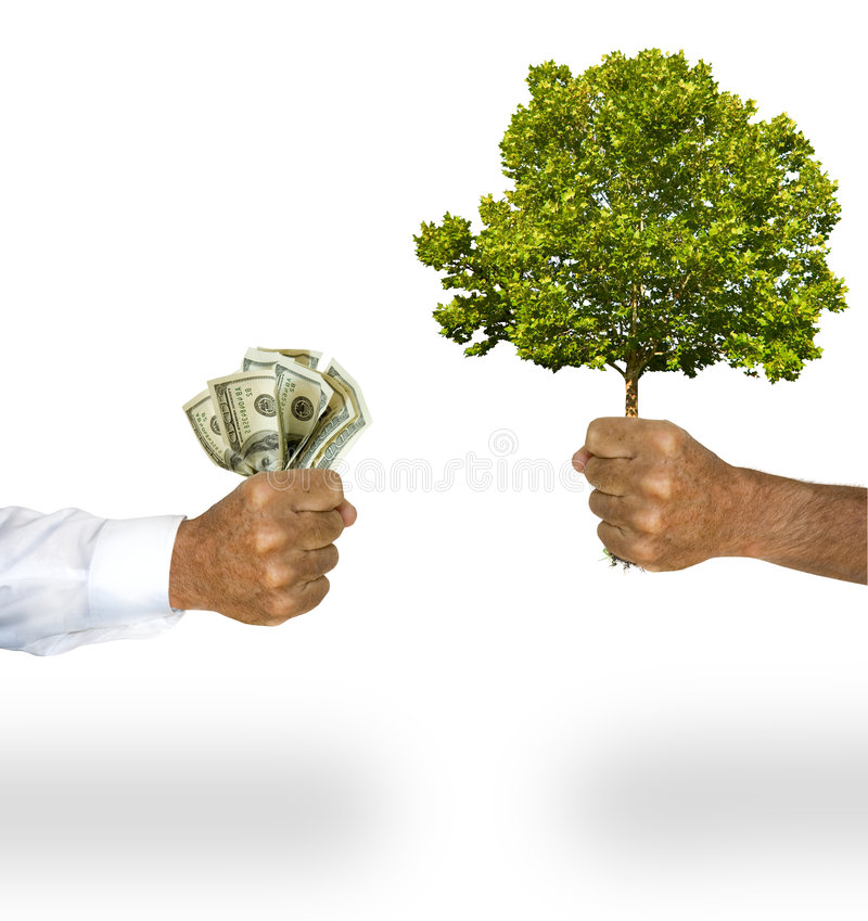 Money for tree. A business man's arm with long sleeve white shirt hands a man's bare arm, money for the tree he is holding. Concept for solving global warming