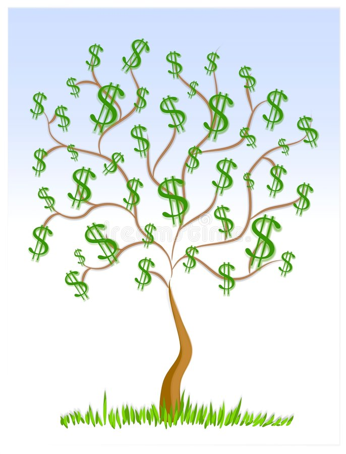 Money Tree Cash Dollar Signs. Everybody wishes for one of these. A tree budding with money. Illustration features green dollar signs growing on a tree with blue