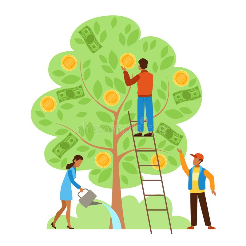 Money tree. Characters picking cash from money tree, income growing metaphor, investors strategy profitable startup vector illustration