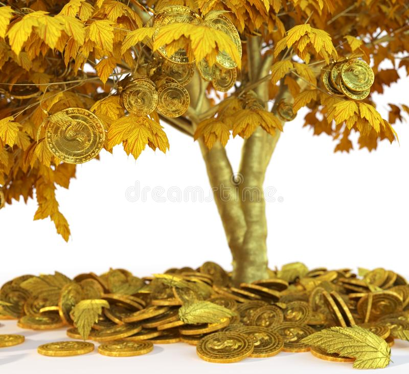 Money tree with coin's on isolate white background close up. 3d illustration stock image