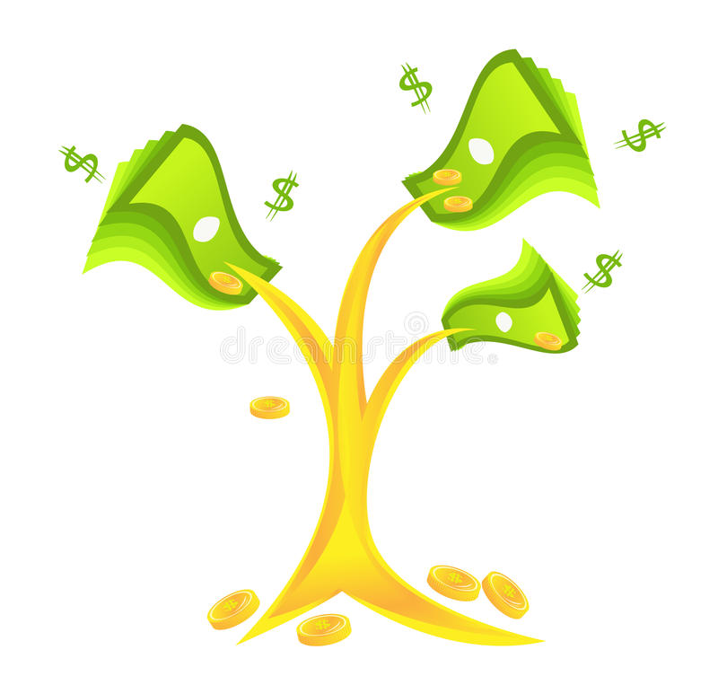 Money tree With coins stock image