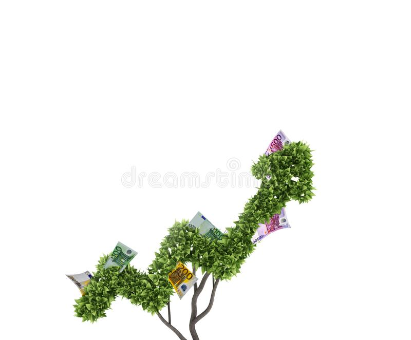 Money tree. Concept of growth and improvement. 3d rendering royalty free stock photos