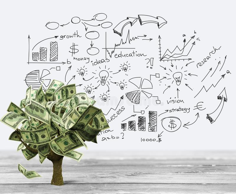 Money Tree. Currency Growth Savings Tree Finance Investment stock photo