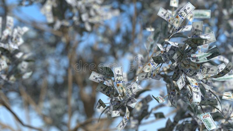 Money tree 3d illustration. Money tree with depth of field blue effect. 3d illustration royalty free stock images