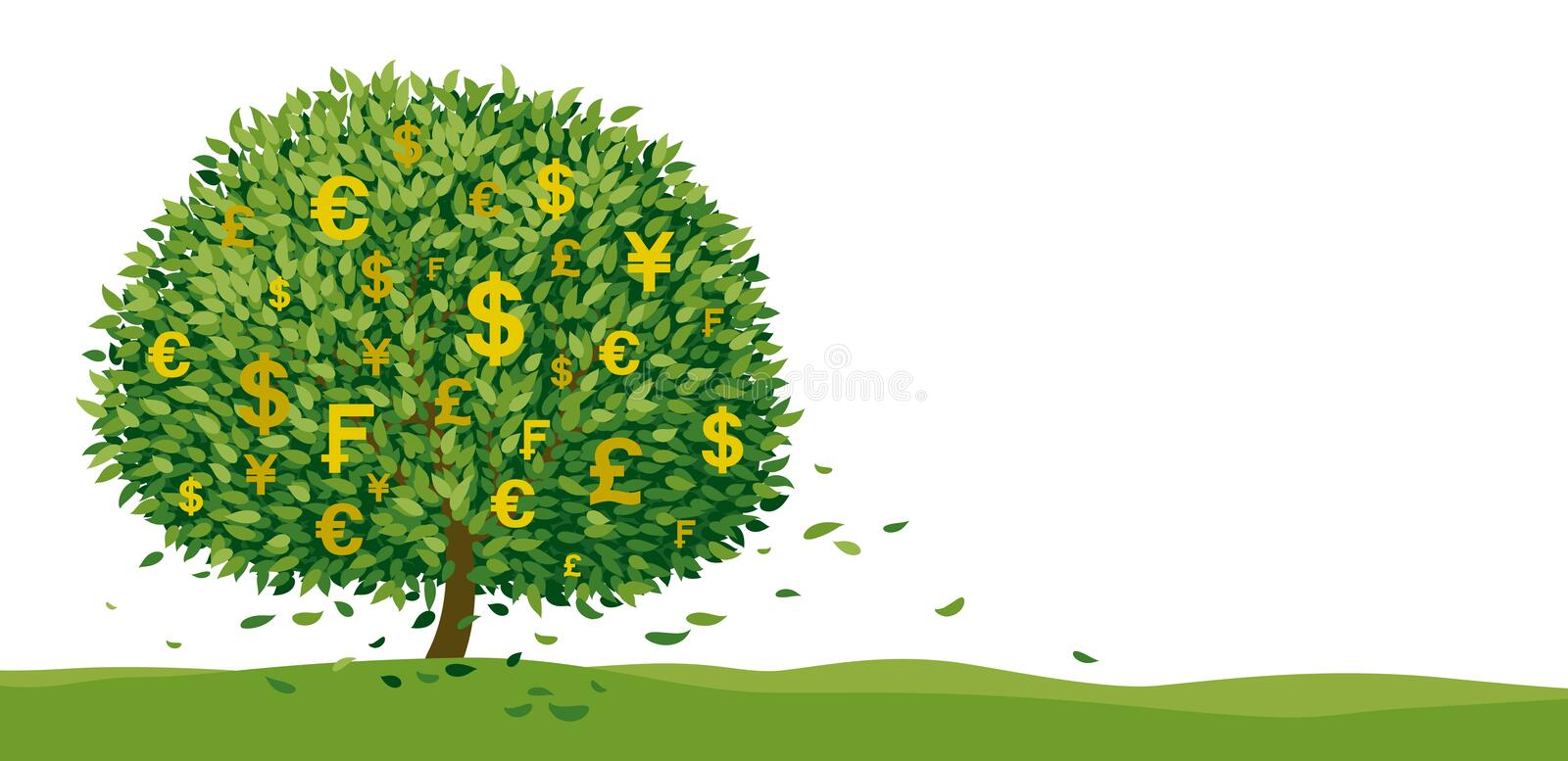Money tree design on white background with copy space vector illustration stock illustration