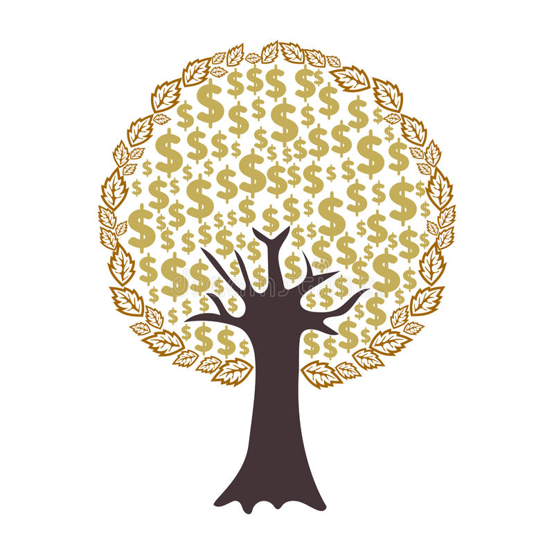 Money tree with dollar signs as leaves isolated on white background. stock illustration