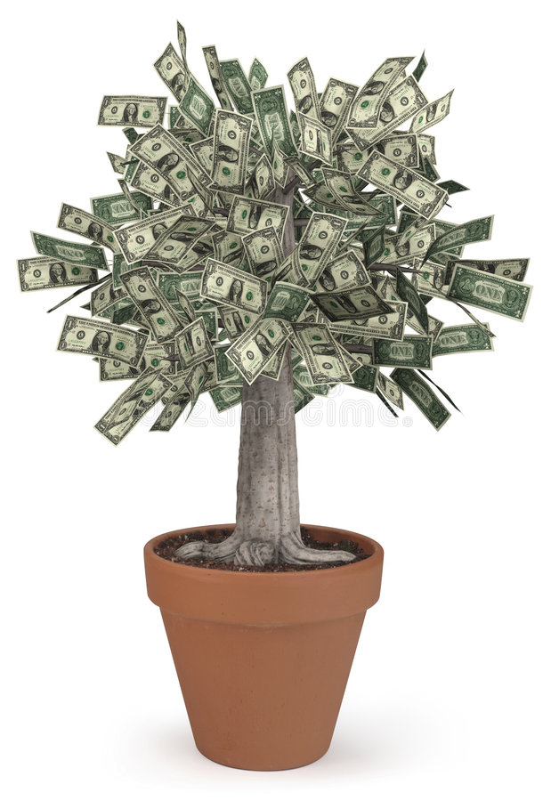 Money Tree in flower pot. High-resolution 3d render of a rooted tree with a thick stock that is growing currency for it's leaves over a white background