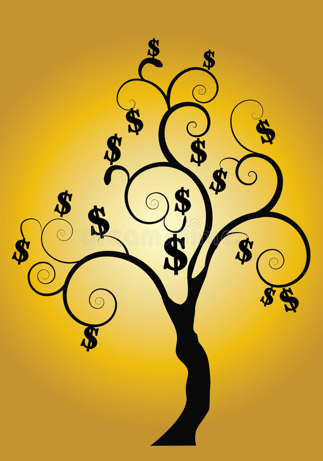 Money tree with gold background vector illustration